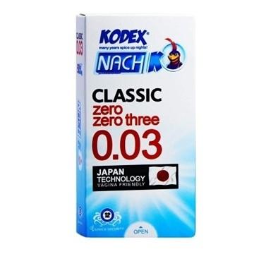 تصویر کاندوم کلاسیک 0.03 ناچ کدکس 12 عددی