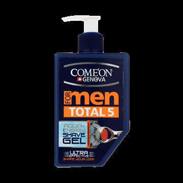 تصویر ژل اصلاح پمپی مردانه توتال 5 آبرسان و تسکین دهنده و ضد التهاب کامان 260 میل
