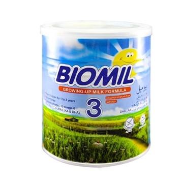 تصویر شیر خشک مناسب 1 تا 3 سالگی بیومیل 3 فاسکا 400 گرم
